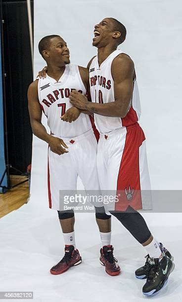 Raptors Kyle Lowry and DeMar DeRozan share a laugh during a photo shoot on the team's practise court Players and coaching staff had official photos...