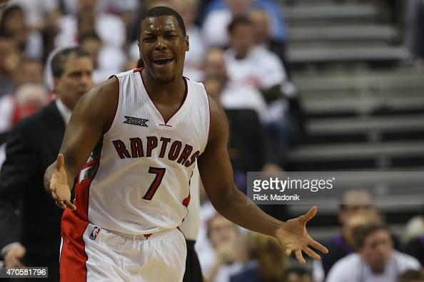 TORONTO APRIL 21 Raptors Kyle Lowry complains about a call and then sits on the bench after picking up his 2nd foul Toronto Raptors vs Washingrton...