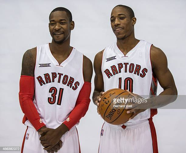 Raptors Terrence Ross and DeMar DeRozan smile for the cameras during a photo shoot on the team's practise court Players and coaching staff had...