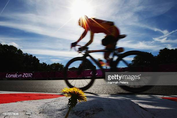 Raquel Acinas Poncelas of Spain competes in the Women's Individual C13 road race on day 8 of the London 2012 Paralympic Games at Brands Hatch on...