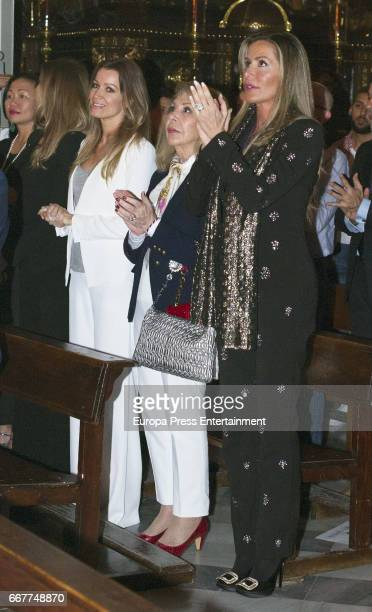 Raquel Bernal Nicole Kimpel and Barbara Kimpel attend Palm Sunday procession during the Holy Week celebrations on April 9 2017 in Malaga Spain
