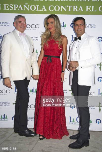 Raquel Bernal Pablo Montero and Boris Izaguirre attend XXXIV AECC Gala Dinner at Real Club de Golf Guadalmina on August 5 2017 in Marbella Spain