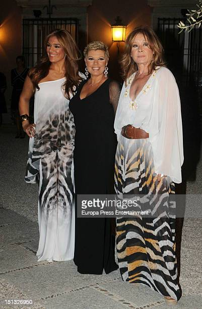 Raquel Bollo Terelu Campos and Mila Ximenez attend the 47th birthday party of Terelu Campos at Casa Monico Restaurant on September 5 2012 in Madrid...