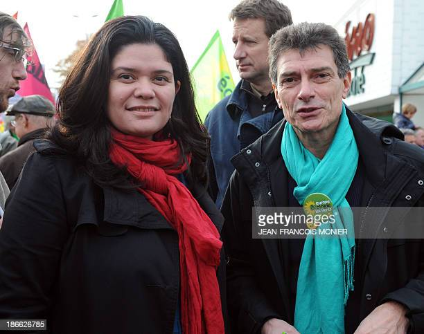 Raquel Garrido national secretary of France's Left Party and Pascal Durand first secretary of the Green Party take part in a demonstration organised...