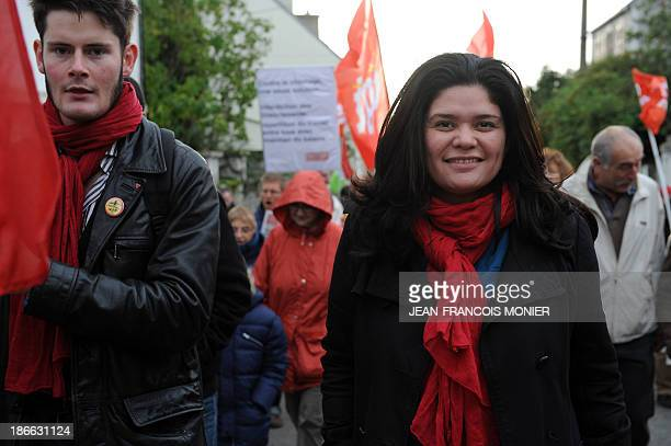 Raquel Garrido national secretary of France's Left Party takes part in a demonstration organised by unions against job losses in Brittany in...