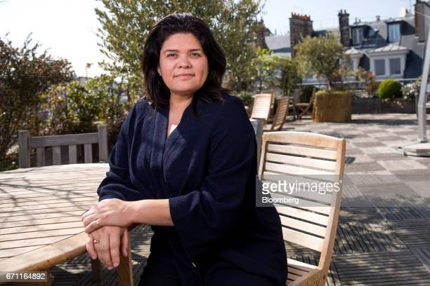 Raquel Garrido spokeswoman for France's presidential candidate JeanLuc Melenchon poses for a photograph following a Bloomberg Television interview in...