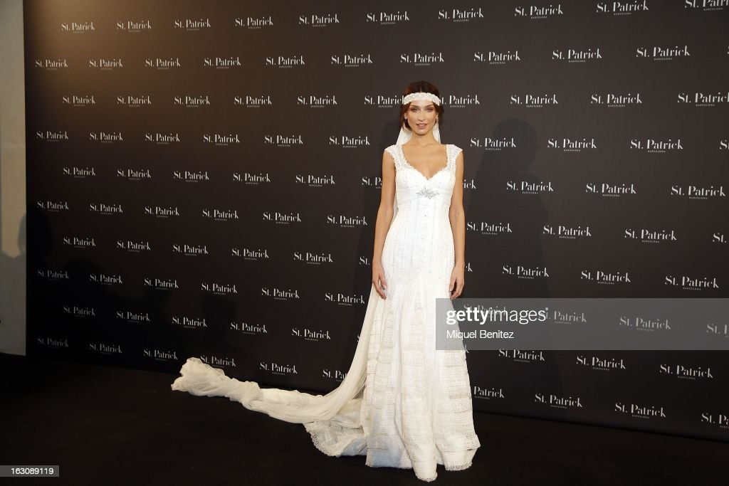 Raquel Jimenez showcases a design from the St Patrick new collection on March 4, 2013 in Barcelona, Spain.