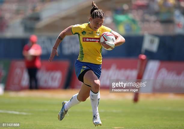 Raquel Kochhann of Brazil in action against France during the Women's HSBC Sevens World Series at Arena Barueri on February 20 2016 in Barueri Brazil