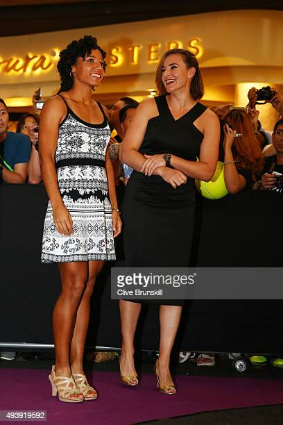 Raquel KopsJones and Abigail Spears and The United States attend the Official Draw Ceremony prior to the BNP Paribas WTA Finals at The Shoppes at...