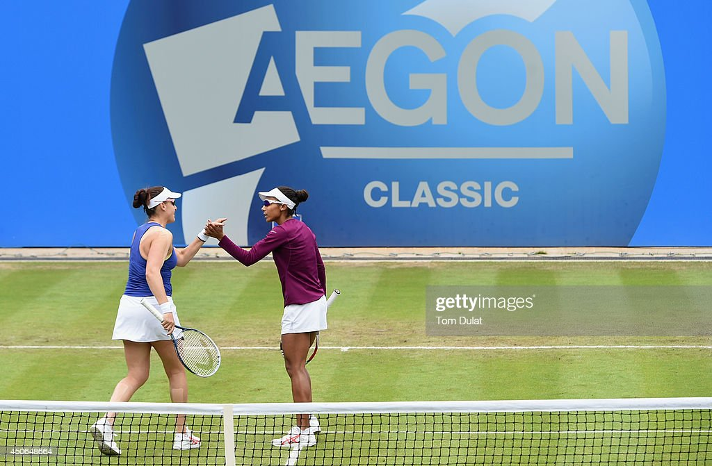 Raquel Kops-Jones and Abigail Spears (L) of the United States celebrate during the Doubles Final during Day Seven of the Aegon Classic at Edgbaston Priory Club on June 15, 2014 in Birmingham, England.