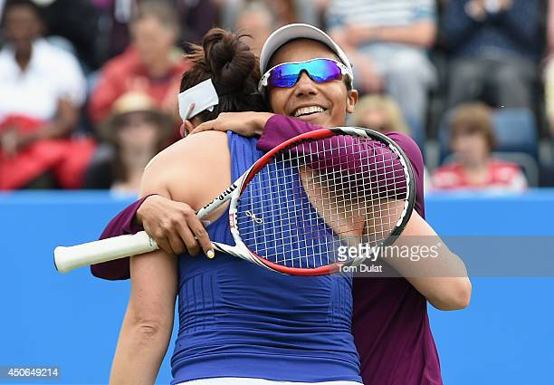 Raquel KopsJones and Abigail Spears of the United States celebrate victory in the Doubles Final during Day Seven of the Aegon Classic at Edgbaston...