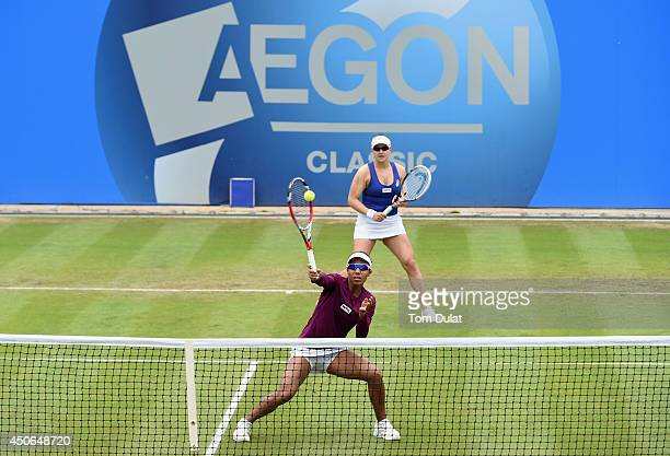 Raquel KopsJones and Abigail Spears of the United States in action during the Doubles Final during Day Seven of the Aegon Classic at Edgbaston Priory...