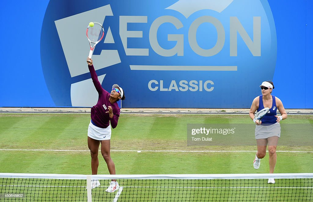 Raquel Kops-Jones and Abigail Spears (R) of the United States in action during the Doubles Final during Day Seven of the Aegon Classic at Edgbaston Priory Club on June 15, 2014 in Birmingham, England.