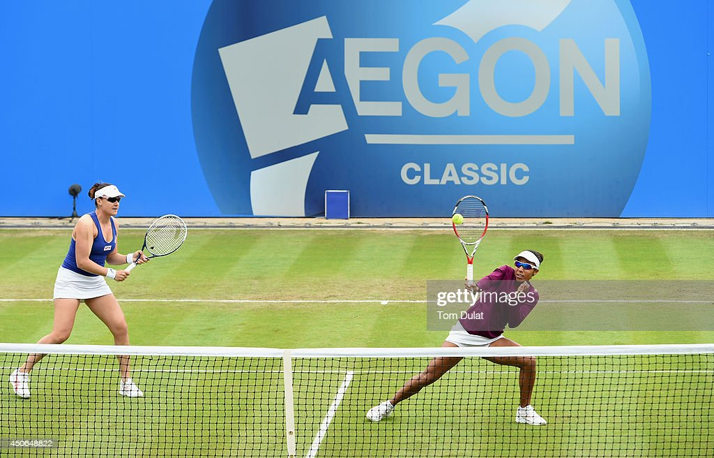 Raquel Kops-Jones and Abigail Spears (L) of the United States in action during the Doubles Final during Day Seven of the Aegon Classic at Edgbaston Priory Club on June 15, 2014 in Birmingham, England.