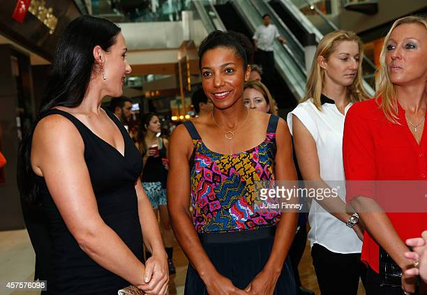 Raquel KopsJones and Abigail Spears of USA attend the doubles draw during day two of the BNP Paribas WTA Finals tennis at the Marina Bay Sands...