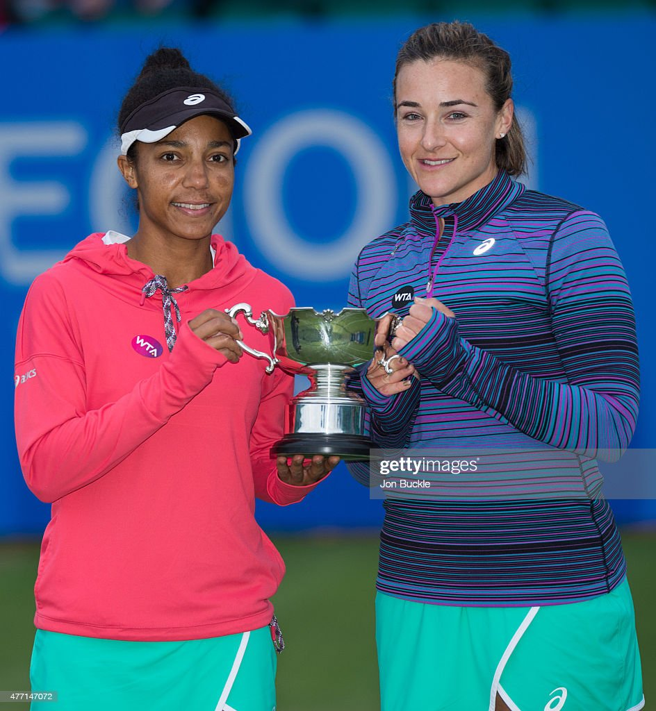 Raquel Kops-Jones and Abigail Spears of USA celebrate their victory against Jocelyn Rae and Anna Smith of Great Britain in the Women's Doubles Final on day seven of the WTA Aegon Open Nottingham at Nottingham Tennis Centre on June 14, 2015 in Nottingham, England.