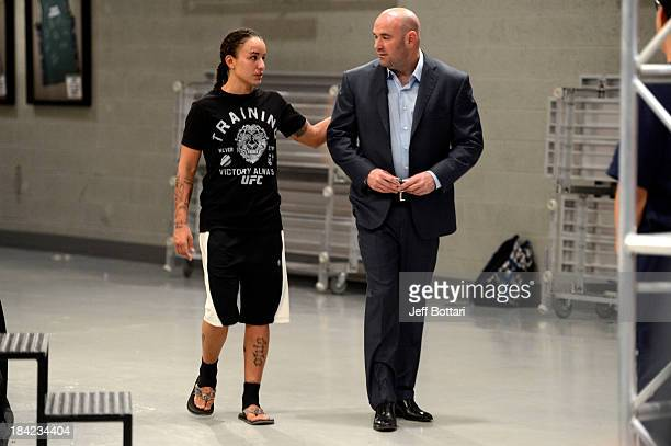 Raquel Pennington speaks with UFC President Dana White after defeating Jessamyn Duke after their preliminary fight during filming of season eighteen...