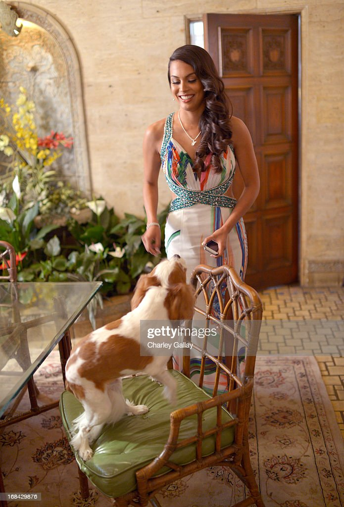 Raquel Pomplun prepares for Playboy's 2013 Playmate Of The Year luncheon honoring Raquel Pomplun at The Playboy Mansion on May 9, 2013 in Holmby Hills, California.