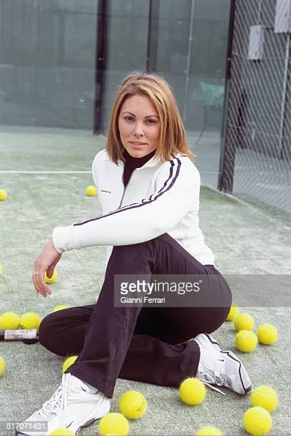 Raquel Rodriguez Miss Spain 1994 playing squash Madrid Spain