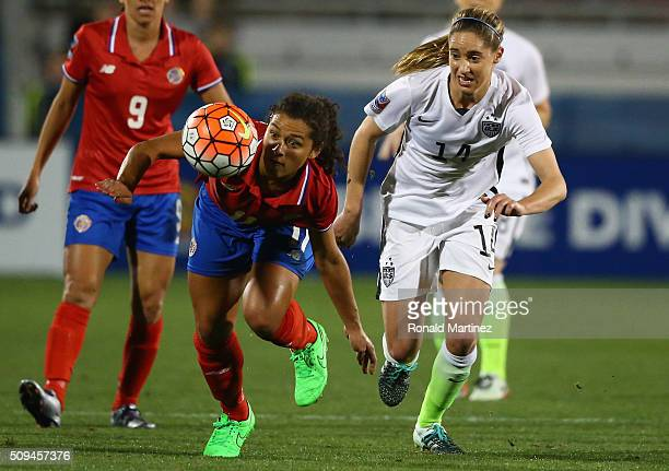 Raquel Rodriguez of Costa Rica controls the ball against Morgan Brian of USA during the 2016 CONCACAF Women's Olympic Qualifying at Toyota Stadium on...