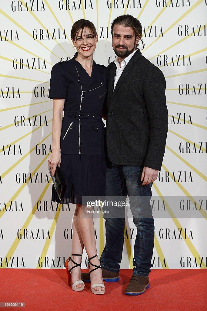 Raquel Sanchez Silva (L) and Mario Biondo attend Grazia Magazine launch party at the Circo Prize Theater on February 12, 2013 in Madrid, Spain.