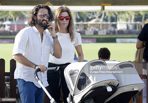 Raquel Sanchez Silva Matias Dumont and their twin sons Bruno Dumont and Mateo Dumont are seen at Santa Marina Polo Club on August 19 2016 in...