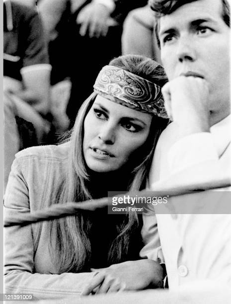 Raquel Welch and her husband Patrick Curtis in a bullfight in Almeria Almeria Spain