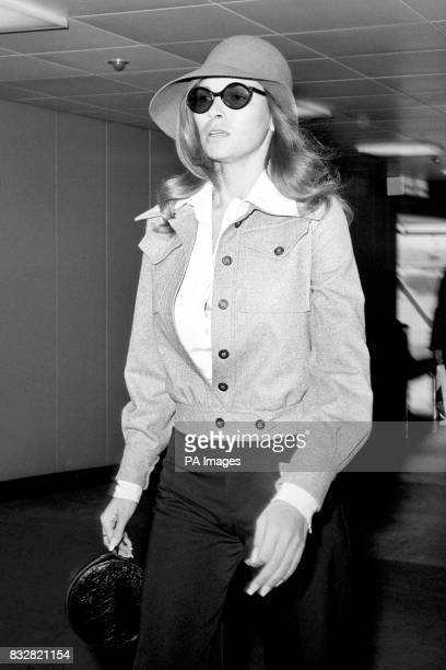 Raquel Welch arrives at Heatrow Airport in tears She is here for the film Kansas City Bomber in which she appears on roller skates and is billed as...