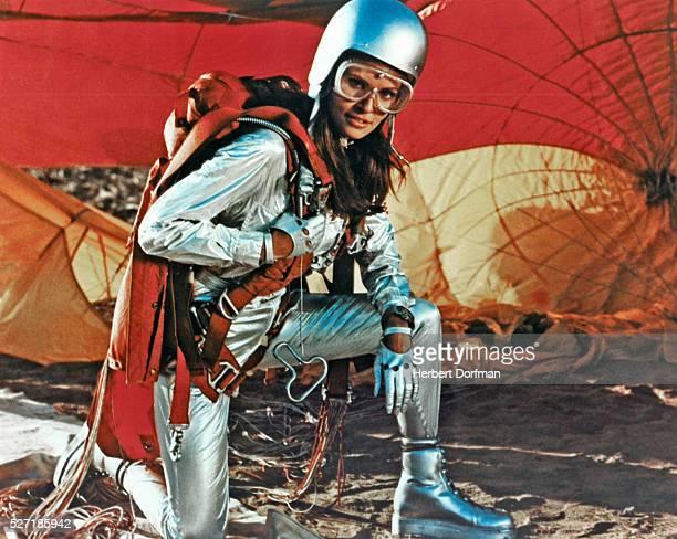 Raquel Welch as skydiver Fathom Harvill in the 1967 film Fathom