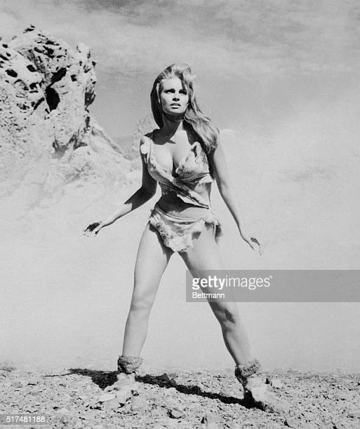Raquel Welch is shown as she starred in One Million Years BC which was produced by Hammer Films for a Twentieth Century Fox release