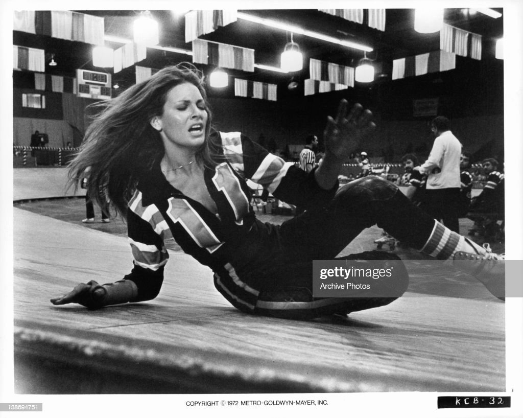 Raquel Welch Taking Fall On The Rink In A Scene From The Film 'kansas City