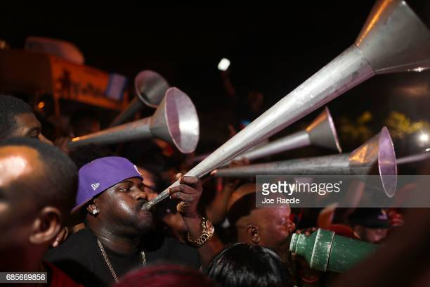 Rara band plays in the streets during the 'Sounds of Little Haiti' concert at the Haitian Cultural Complex on May 19 2017 in Miami Florida The...
