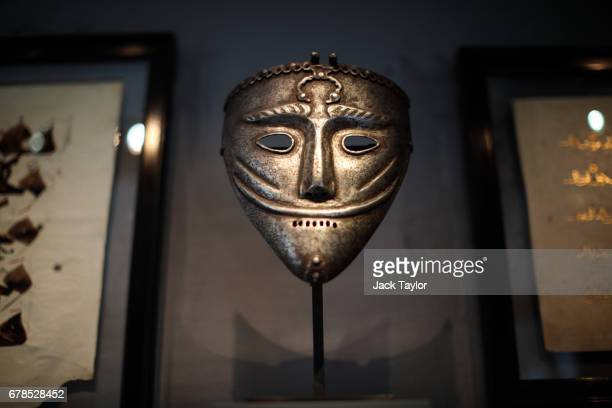 A rare 15th century AkKoyyonlu Iron War Mask from Azerbaijan or eastern Anatolia on display at 5 Cromwell Place on May 4 2017 in London England...