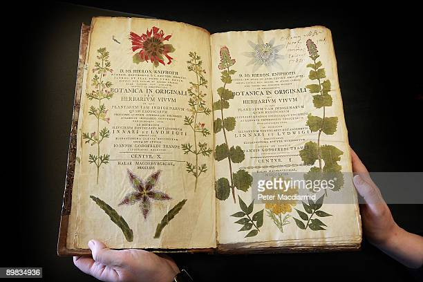 A rare 18th century book containing nature prints is displayed at the Herbaruim library on March 25 2009 at the Royal Botanic Gardens Kew in London...