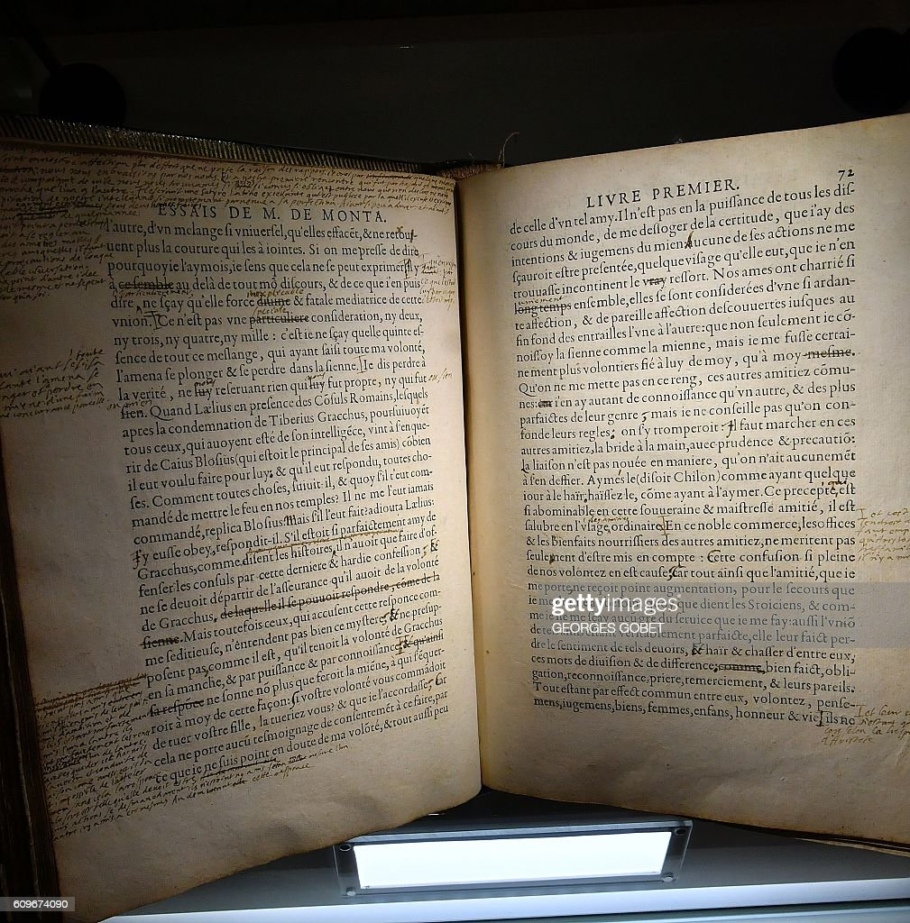 a rare annotated copy of essays of french philosopher michel de a rare annotated copy of essays of french philosopher michel de montaigne is displayed at the bibliotheque in bordeaux on 16 2016