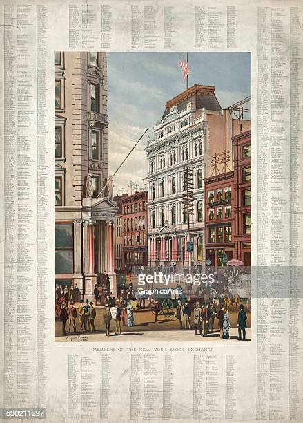 Rare antique print of the facade of the New York Stock Exchange with a list of its members in 1882 1882