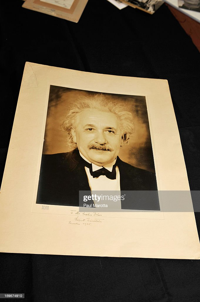 A rare autographed portrait of Albert Einstein at on January 16, 2013 at RR Auction in Amherst, New Hampshire.