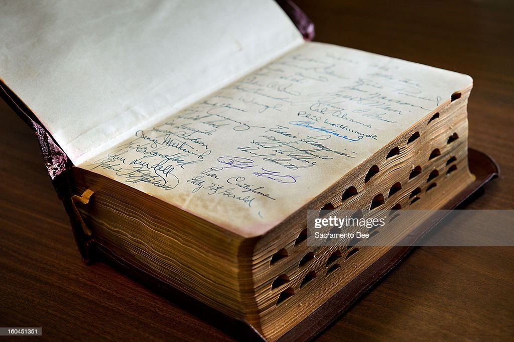 A rare Bible autographed by the members of the Pittsburgh Pirates baseball team is displayed at the Book Den in Sacramento, California, January 24, 2013.