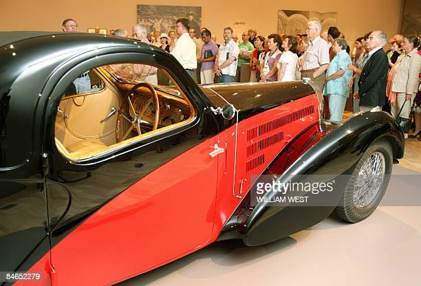 A rare Bugatti Type 57C sits in the National Gallery of Victoria at a preview for the Bugatti exhibition which displays sculptures furniture and cars...
