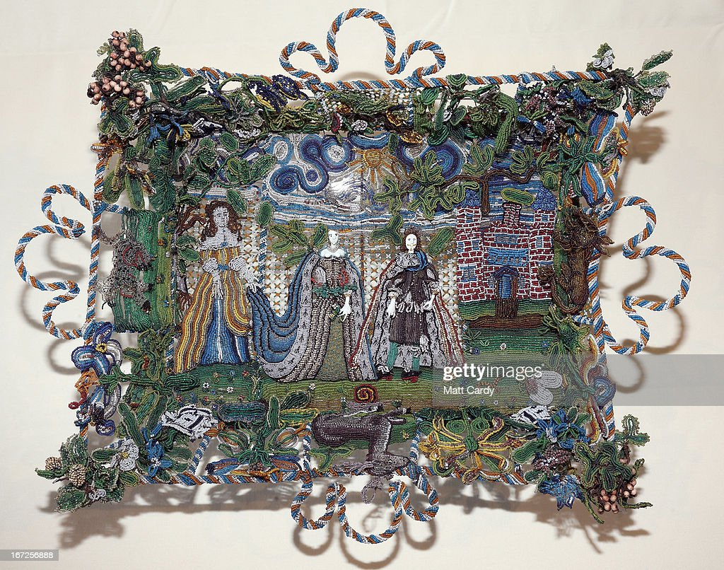 A rare seventeenth-century beadwork basket that the Holburne Museum has launched a appeal to acquire for its permanent collection is seen at the Holburne Museum on April 23, 2013 in Bath, England. Made in England around 1665, the basket - which depicts Charles II who had recently been restored to the throne, and Catherine of Braganza next to a castle within a leafy landscape - is a rare survivor and is made from thousands of brightly coloured glass beads of varying sizes, threaded onto fine wires and attached to the mesh-like basket frame. To secure it for its collection, the Holburne needs the public to make donations totaling 6,000 GDP towards the 78,000 GDP cost of the basket, the majority of which is being sought through grants. The Museum has until July to raise 6,000 GDP.