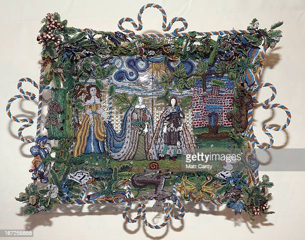 A rare seventeenthcentury beadwork basket that the Holburne Museum has launched a appeal to acquire for its permanent collection is seen at the...