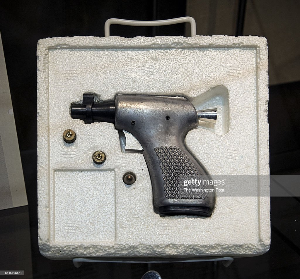 A rare single shot pistol on display part of a new exhibit dedicated to the OSS has opened at the CIA in house museum on October 2011 in McLean VA