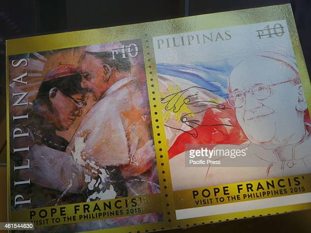 Rare souvenir sheet special coinage stamp in honor of the upcoming official state visit of Pope Francis and four Papal Visit Stamp designed by...