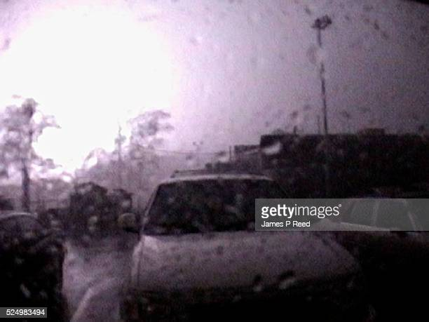A rare video frame shows lightning occurring in the eye wall of Hurricane Ivan The flash was caused by cloudtoground lightning in heavy rain and...