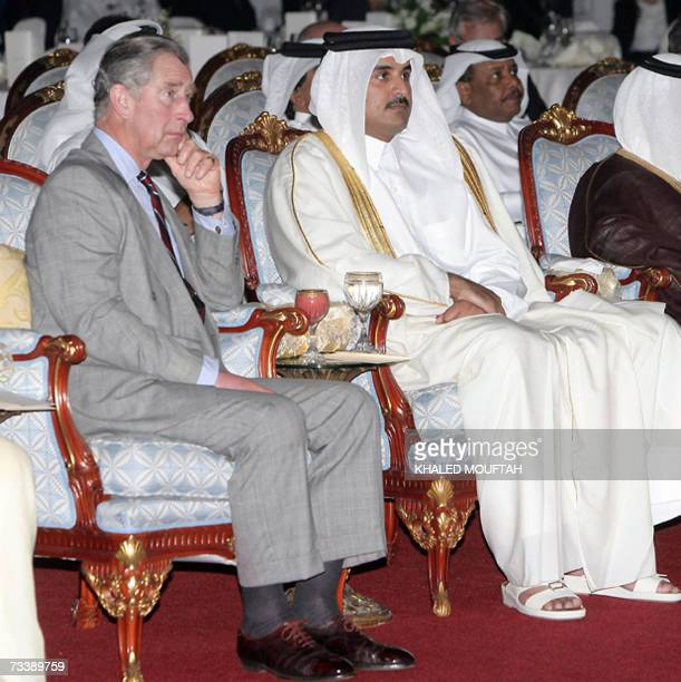 Britain's Prince Charles and Qatari Crown Prince Sheikh Tamim Bin Hamad alThani after attend a ceremony for the foundation stone for a plant at Ras...