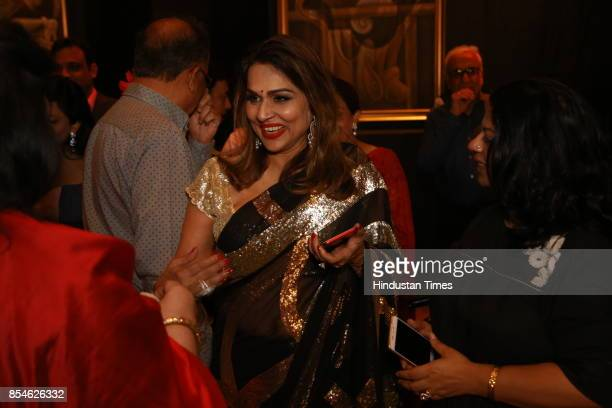 Raseel Gujral Ansal during an art exhibition organised by veteran artist Satish Gujral on September 22 2017 in New Delhi India At the event artist...