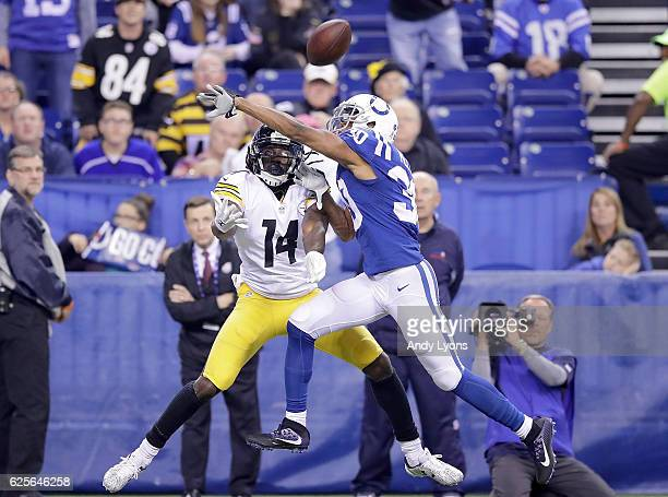 Rashaan Melvin of the Indianapolis Colts breaks up a pass to Sammie Coates of the Pittsburgh Steelers during the second half of the game at Lucas Oil...