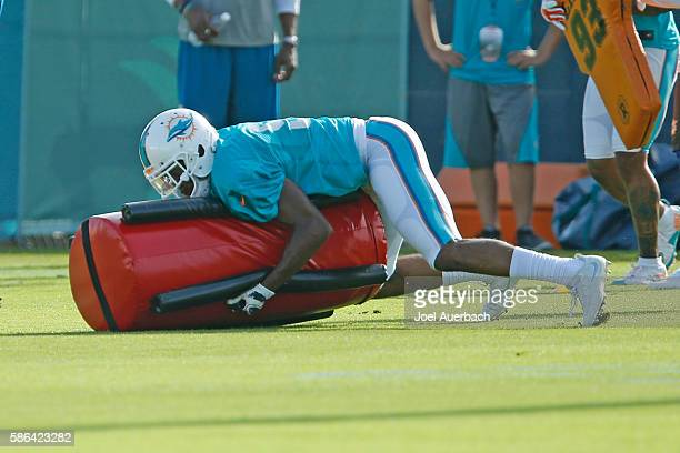 Rashaan Melvin of the Miami Dolphins runs a drill during the teams training camp on August 4 2016 at the Miami Dolphins training facility in Davie...