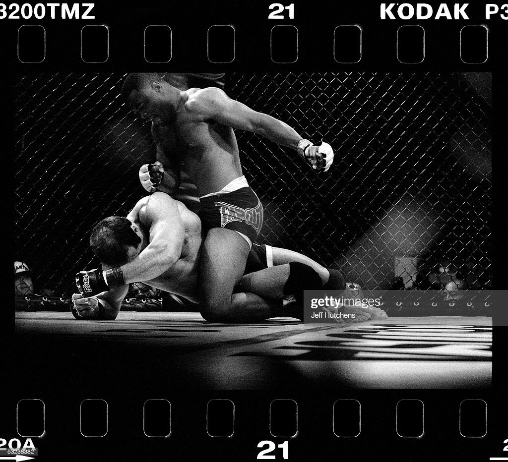 Rashad Evans and Brian Pardoe battle with ferocity during a Gladiator Challenge cage match at Colusa Casino in Colusa California USA on June 2 2004...