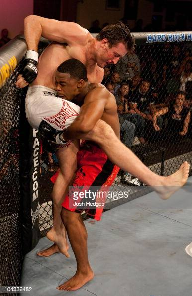 Rashad Evans attempts to take down Stephan Bonnar at UFC Fight Night 5 at the Joint at the Hard Rock on June 28 2006 in Las Vegas Nevada